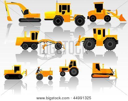 Set Of Icon Heavy Machines.