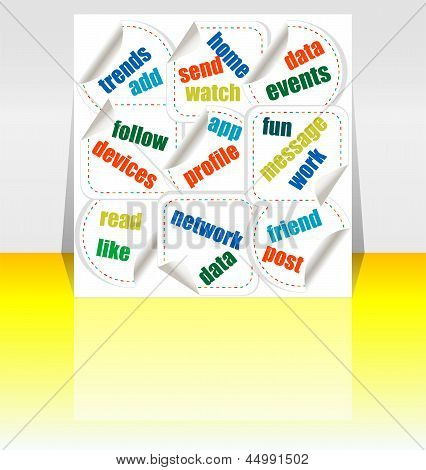 Social Media Wording, Word Cloud - Flyer Or Cover Design, art illustration 3d