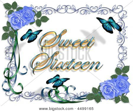 Sweet 16 Birthday Blue Roses Border