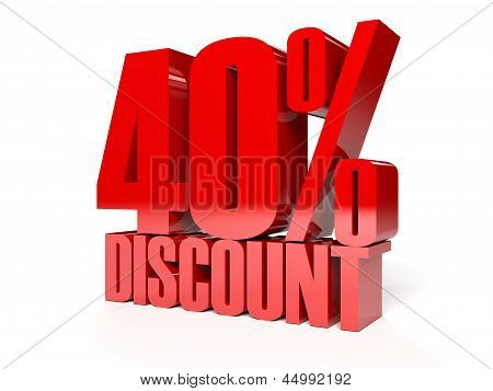 40 percent discount. Red shiny text.