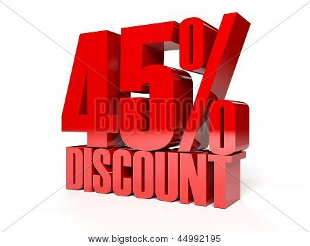 45 percent discount. Red shiny text.