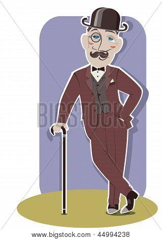 Vintage Gentleman In Black Bowler Hat And Cane.vector Color Illustration