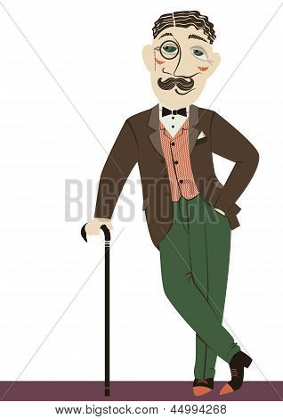 Vintage Gentleman With Cane.vector Man Isolated On White