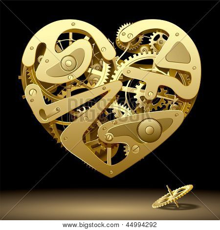 Isolated raster version of vector image of gold clockwork heart on the black background with a pinion (contain the Clipping Path)