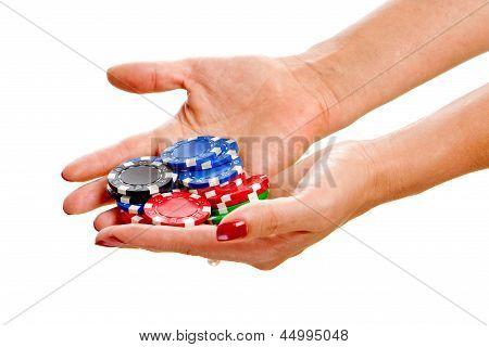 Female Hands Holding Poker