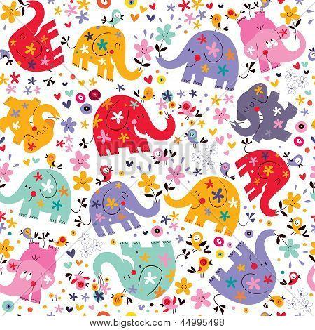 cute elephants, birds & flowers pattern