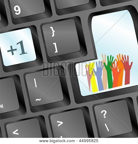 Keyboard With Set Of Hands On Enter Button, Social Concept