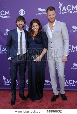 LAS VEGAS - APR 07:  Lady Antebellum arrives to the Academy of Country Music Awards 2013  on April 07, 2013 in Las Vegas, NV.