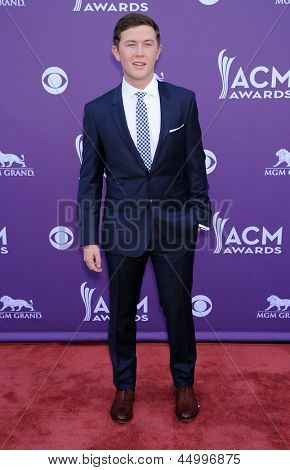 LAS VEGAS - APR 07:  Scotty McCreery arrives to the Academy of Country Music Awards 2013  on April 07, 2013 in Las Vegas, NV.