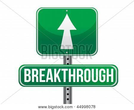 Breakthrough Road Sign Illustration Design