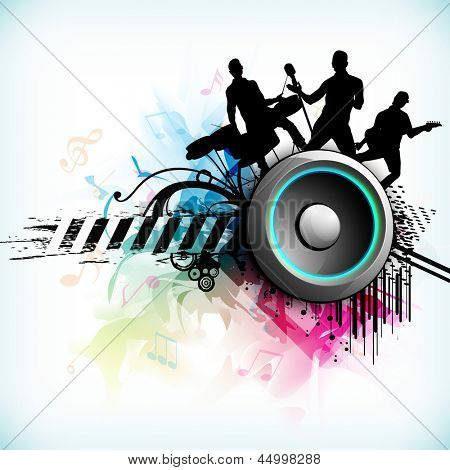 Dance party background with silhouette of rock band and loud speakers background.