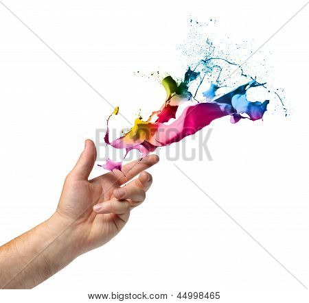 Creativity Concept Hand Throwing Paint