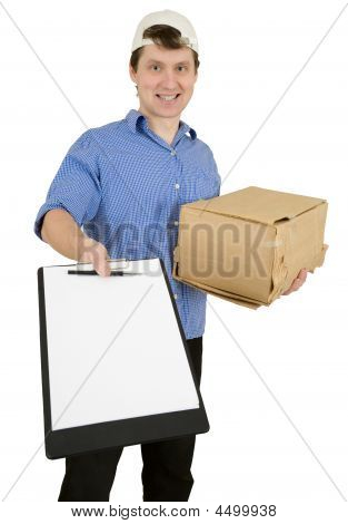 Man With Tablet And Cardboard Box