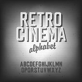 stock photo of alphabet  - Old cinema styled alphabet - JPG