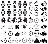 stock photo of quartz  - Icon set clocks - JPG