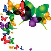 image of butterfly-bush  - Vector illustrations with colorful butterflies repetition - JPG