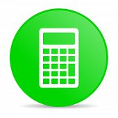 calculator green circle web glossy icon