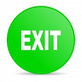 exit green circle web glossy icon