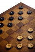 image of draught-board  - Color shot of a vintage draughts or checkers board game - JPG