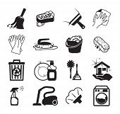 stock photo of garbage bin  - Monochromatic cleaning vector icons - JPG