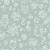 stock photo of owls  - Light floral seamless pattern with cute cartoon owls - JPG