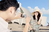 image of handphone  - Boyfriend took picture of girlfriend in Sydney - JPG