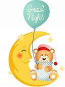 stock photo of goodnight  - Scalable vectorial image representing a good night teddy bear sitting on a moon - JPG
