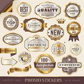 stock photo of laurel  - golden promo stickers - JPG