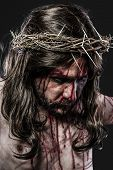 stock photo of sacred heart jesus  - representation of the Passion of Jesus Christ - JPG