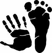 Постер, плакат: Рука и печать ноги