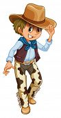 image of wrangler  - Illustration of a young cowboy on a white background - JPG