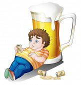 Illustration of a fat boy with cans of beer near a big glass on a white background