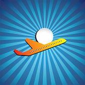 Постер, плакат: Векторная графика авиалайнер или Jet значок летать на яркий день