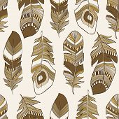 stock photo of east-indian  - vector seamless ethnic Indian feathers plumage pattern - JPG