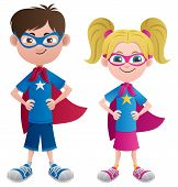 stock photo of short skirt  - Illustration of 2 super kids - JPG