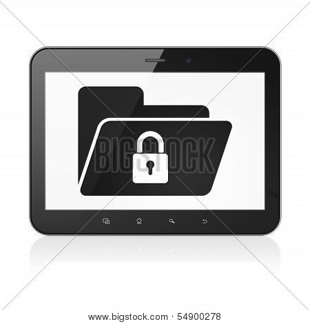 Business concept: Folder With Lock on tablet pc computer