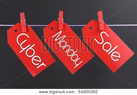 Cyber Monday Online Christmas Shopping Sale Concept With Text Across Three Red Tickets Hanging From