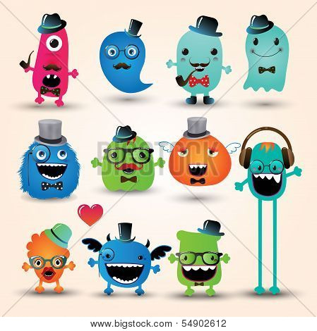 Vector Freaky Hipster Monsters Set Funny Illustration