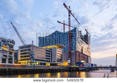 Construction Site Of The New Elbphilharmonic Building In The Harbor City