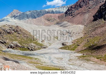 Confluence of rivers in colorful mountains