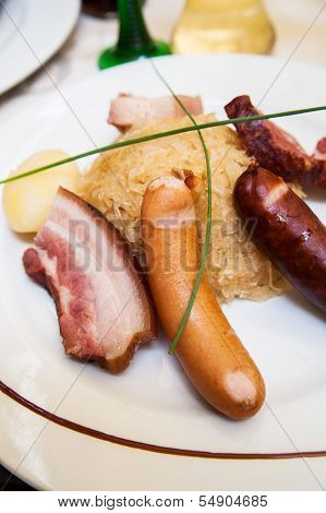 Sauerkraut with Sausage and Ham