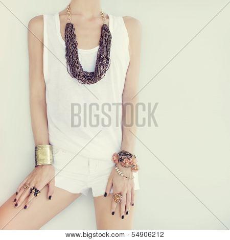 fashion girl in stylish jewelry