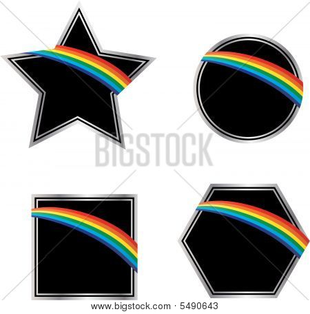 Rainbows on Black and Silver