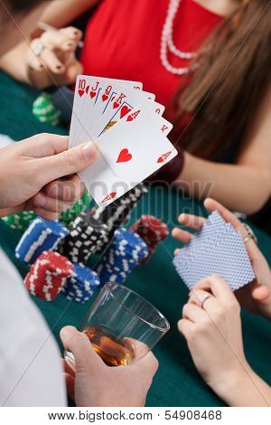 Royal Flush In Poker Game