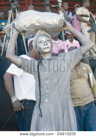 Painted Haitian Woman in Protest