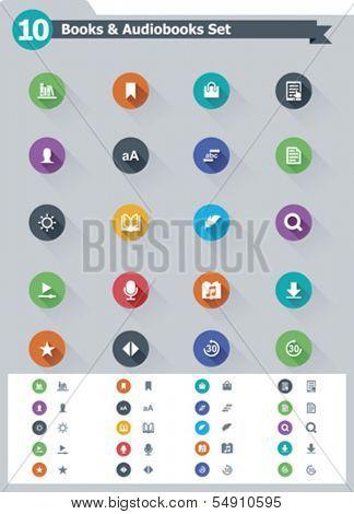 Flat e-book icon set