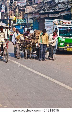 Pushcart Puller In Chawri Bazar, Delhi Early Morning