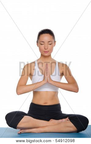 Asian Woman Sitting In Lotus Position