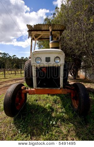 Front Of Dirty Old Tractor
