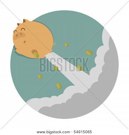 Piggy bank flying freedom